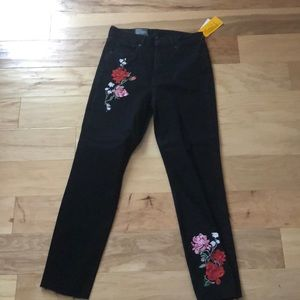 New with tags divided jeans  w/ floral designs